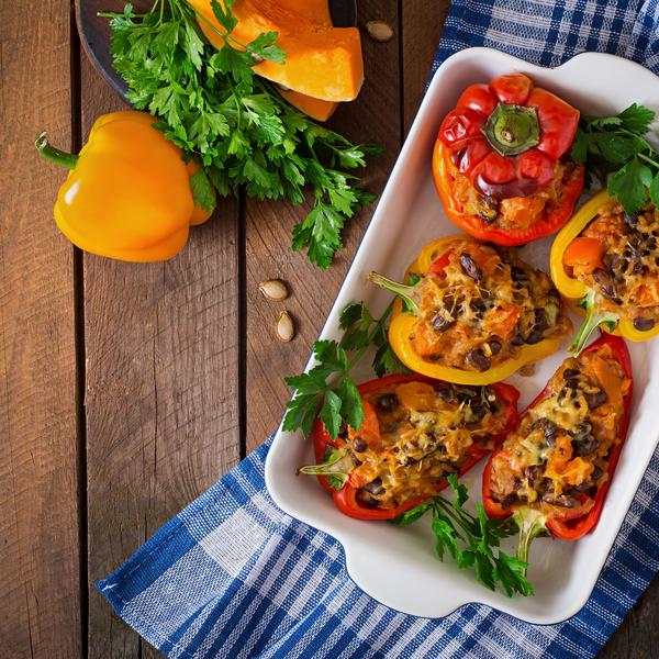 Légumes farcis aux amandes et couscous perlé
